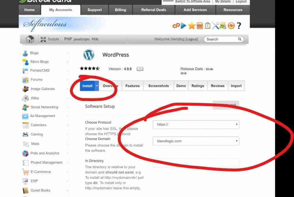 05 - How To Install WordPress in cpanel - Click on Install