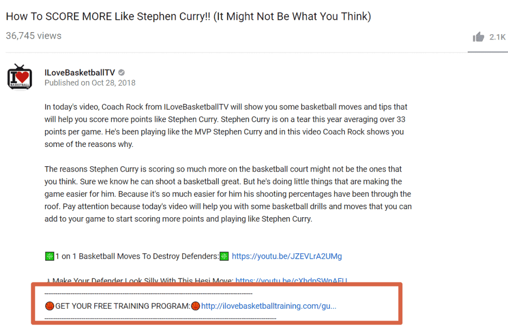 I Love Basketball - Youtube Funnel Descriptions