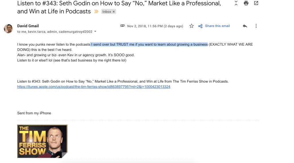 David Nurse - Tim Ferris Podcast Email
